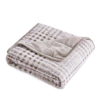 Taupe Plaid Cashmere Shiny Velvet 48 in. x 72 in. 12 lbs. Weighted Throw Blanket