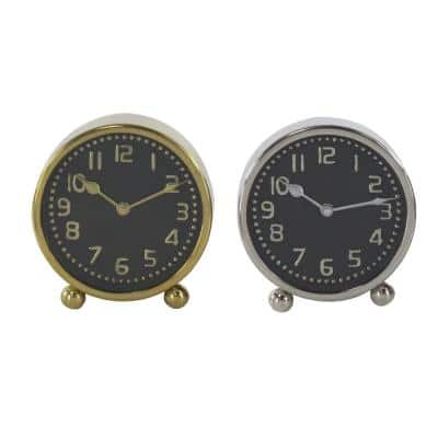 Multi Colored Stainless Steel Glam Analog Tabletop Clock (Set of 2)