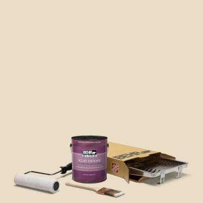 1 gal. #N290-2 Authentic Tan Extra Durable Eggshell Enamel Interior Paint and 5-Piece Wooster Set All-in-One Project Kit