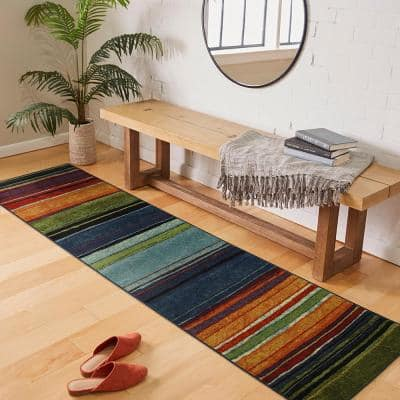Rainbow Multi 8 ft. x 10 ft. Striped Area Rug 3-Piece Set
