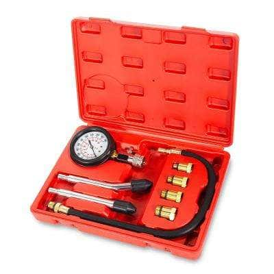 8-Piece Spark Plug Cylinder Compression Test Tester Kit with M10, M12, M14, M18 Fitting Adapater