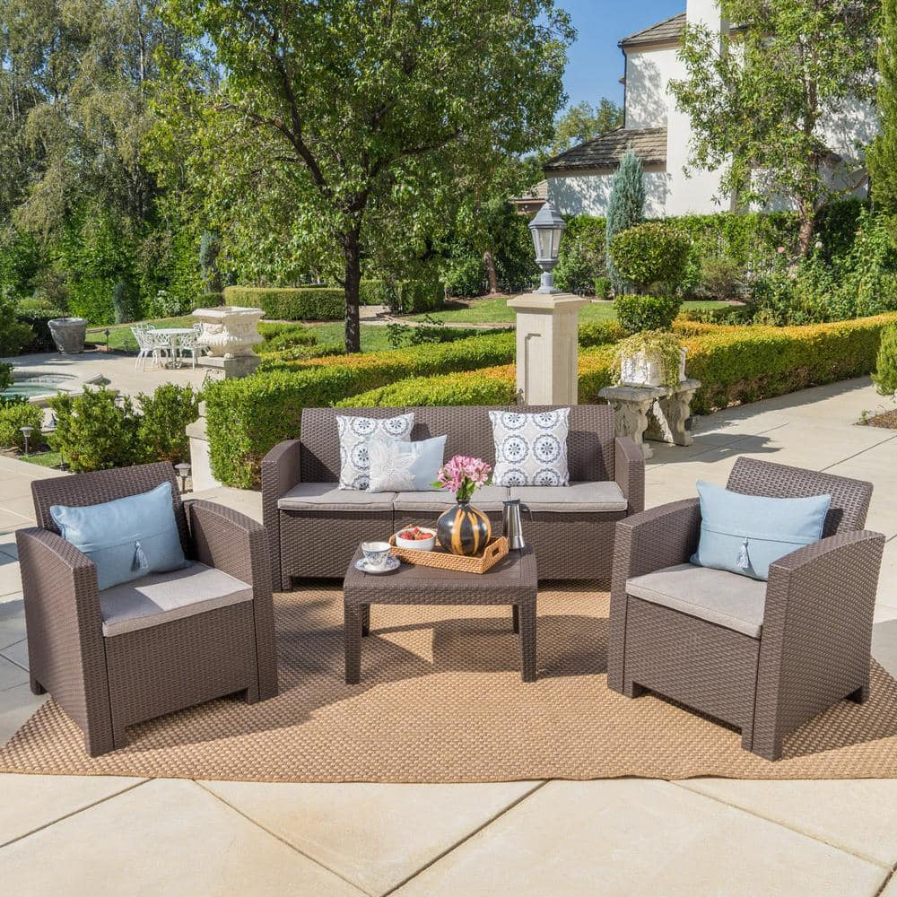 Noble House 4-Piece Faux Wicker Patio Conversation Set with Mixed