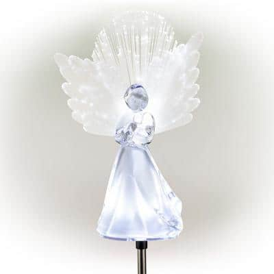 37 in. Tall Solar Angel Garden Stake with Fiber Optic Wings and LED Lights, Set of 2