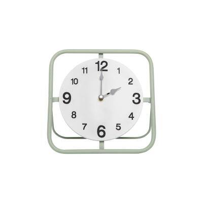 Green Wire Metal Battery Operated Table Clock