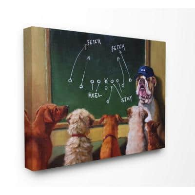 """16 in. x 20 in. """"Dog Football Team New Tricks Practice Painting"""" by Lucia Heffernan Canvas Wall Art"""