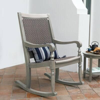 Bonn Oversized Gray Wicker Outdoor Rocking Chair