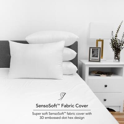 SensoSoft Embossed 3D Polyester Fiberfill Jumbo Pillow (Set of 4)