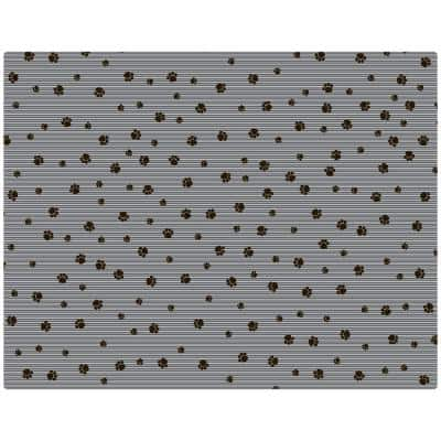 Grey Stripe Black Paw 36 in. x 28 in. Cat Litter Mat
