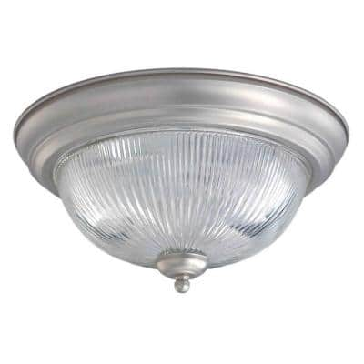 Burton 2-Light Brushed Nickel Flushmount with Clear Ribbed Glass