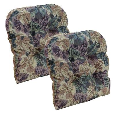 "Gripper Non-Slip 15"" x 15"" Cabernet Tufted Universal Chair Cushions (Set of 2)"