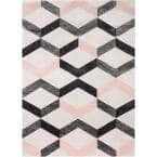 Good Vibes Millie Blush Pink Modern Zigzag Stripes 5 ft. 3 in. x 7 ft. 3 in. Area Rug