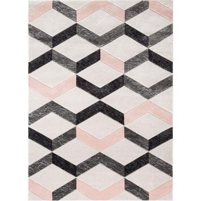Good Vibes Millie Blush Pink Modern Zigzag Stripes 7 ft. 10 in. x 9 ft. 10 in. Area Rug