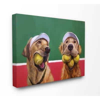 """16 in. x 20 in. """"Mouth Full Tennis Ball Retriever Dogs Painting"""" by Lucia Heffernan Canvas Wall Art"""