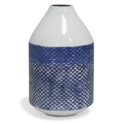 White and Blue Cree for Table Vase 14.5 in. Distress