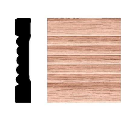 7/16 in. x 2-1/4 in. x 7 ft. Oak Wood Fluted Casing Moulding