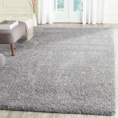 California Shag Silver 10 ft. x 13 ft. Solid Area Rug