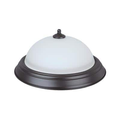 11 in. 15-Watt Bronze Integrated LED Ceiling Flush Mount with Frosted Glass Diffuser