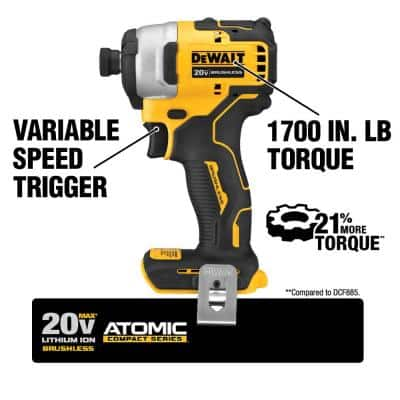 ATOMIC 20-Volt MAX Li-Ion Brushless Cordless Compact 1/4 in. Impact Driver Kit with 20-V Compact Recip Saw (Tool-Only)