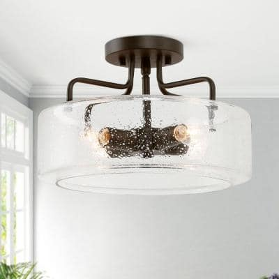Etilka 12 in. 4-Light Oil Rubbed Bronze Semi-Flush Mount Ceiling Light with Seeded Glass Shade LED Compatible