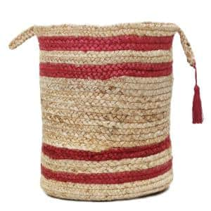 Double Striped Natural Jute Tan / Red 17 in. Decorate Storage Basket with Handles