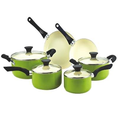10-Piece Green Cookware Set with Lids