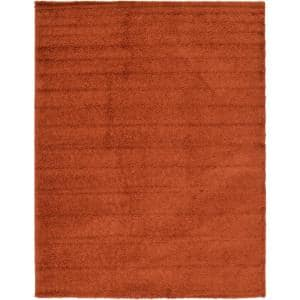 Solid Shag Terracotta 12 ft. x 15 ft. Area Rug