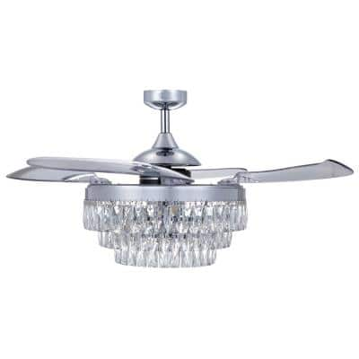 Veil 48-in. Integrated LED Indoor Chrome Rectractable Blades Ceiling Fan with Light and Remote Control
