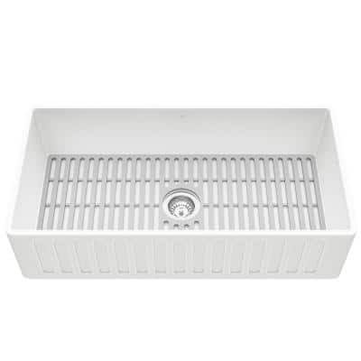 Matte Stone White Composite 36 in. Single Bowl Farmhouse Apron-Front Kitchen Sink Set with Strainer and Silicone Grid