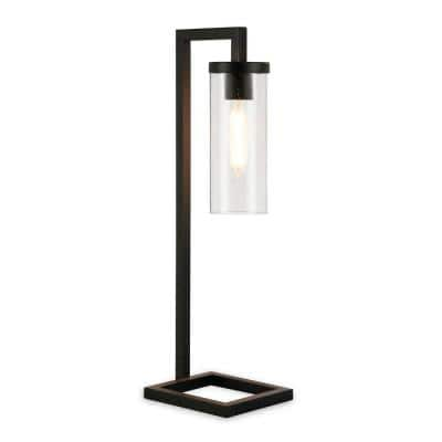 Malva 26 in. Blackened Bronze Table Lamp with Seeded Glass Shade