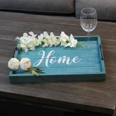 """""""Home"""" Blue Wash Decorative Wood Serving Tray"""