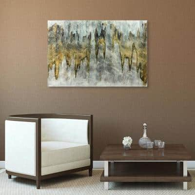 Infinite White Abstract Unframed Reverse Printed on Tempered Glass with Silver Leaf Wall Art 48 in. x 32 in.
