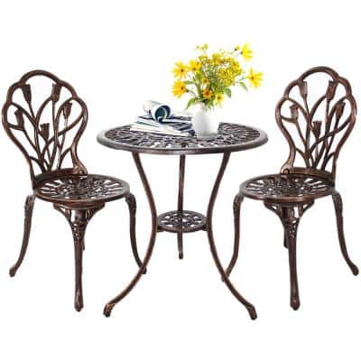 Bronze 3-Piece Cast Aluminum Outdoor Bistro Set with Round Patio Table and 2-Bistro Chairs