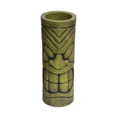 Saguard 9.25 in. x 9.25 in. Antique Green Cast Stone Outdoor Polynesian Urn
