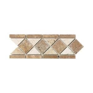 Tumbled Noce Listello 4 in. x 12 in. Decorative Accent Travertine Floor and Wall Tile