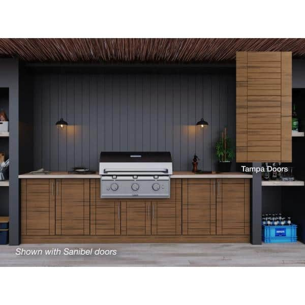 Weatherstrong Tampa Teak 17 Piece 121 25 In X 34 5 In X 28 In Outdoor Kitchen Cabinet Set Wse120wm Ttk The Home Depot