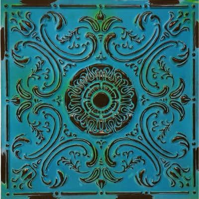 Venice 2 ft. L x 2 ft. L PVC Glue up or Lay in Ceiling Tile in Medieval Blue (100 sq. ft. /Case)