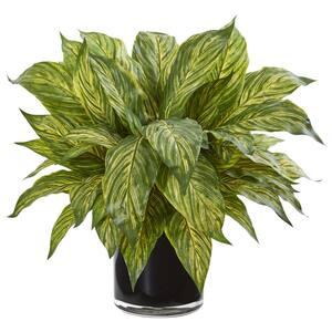 Indoor Musa Leaf Artificial Plant in Glossy Black Vase