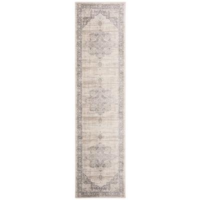 Brentwood Cream/Gray 2 ft. x 6 ft. Floral Medallion Border Runner Rug