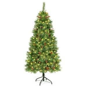 6 ft. Pre-Lit Hinged Artificial Christmas Tree with 250 LED Lights