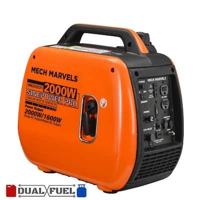 2,000-Watt Recoil Start Gasoline or Propane Super Quiet Portable Inverter Dual Fuel Generator, Clean Sine Wave