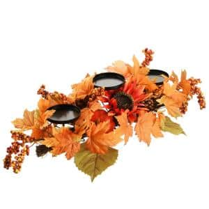 24 in. W Harvest Candle Holder with Sunflowers, Maple Leaves
