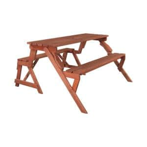 55 in. x 58 in. x 30 in. Cedar Folding Picnic Patio Table and Bench