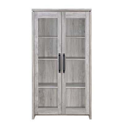 Spacious Gray Wooden Cabinet with 2-Glass Doors
