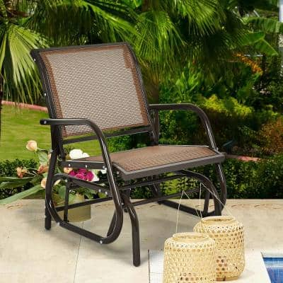 29 in. 1-Person Brown Steel Outdoor Glider