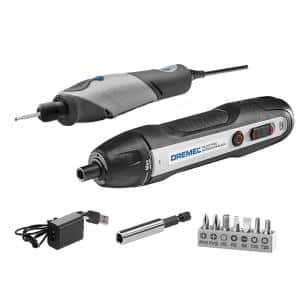 Home Solutions Rechargeable 4V Li-Ion PoweredElectric Screwdriver+ Stylo Versatile Craft Rotary ToolKit w/15 Accessories