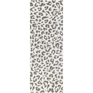 Sebastian Leopard Print Gray 2 ft. x 10 ft. Runner Rug
