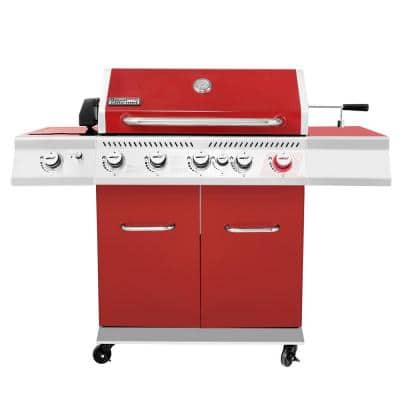 5-Burner Propane Gas Grill in Red with Rotisserie Kit