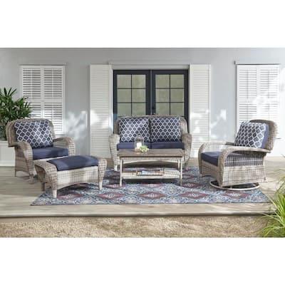 Beacon Park Gray Wicker Outdoor Patio Ottoman with Standard Midnight Trellis Navy Blue Cushions