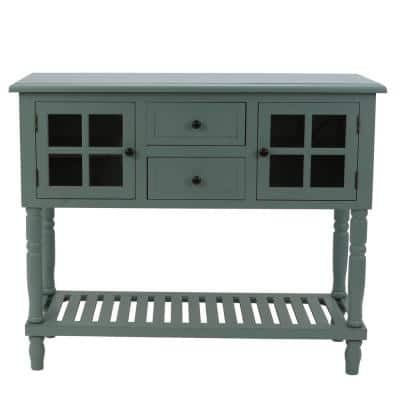 Morgan 42 in. Antique Iced Blue Standard Rectangle Wood Console Table with Drawers