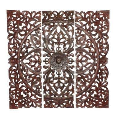 Three Piece Brown Wooden Wall Panel Set with Traditional Scrollwork and Floral Details